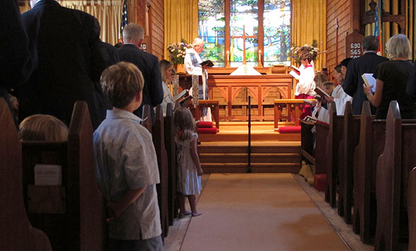 Inside church during service